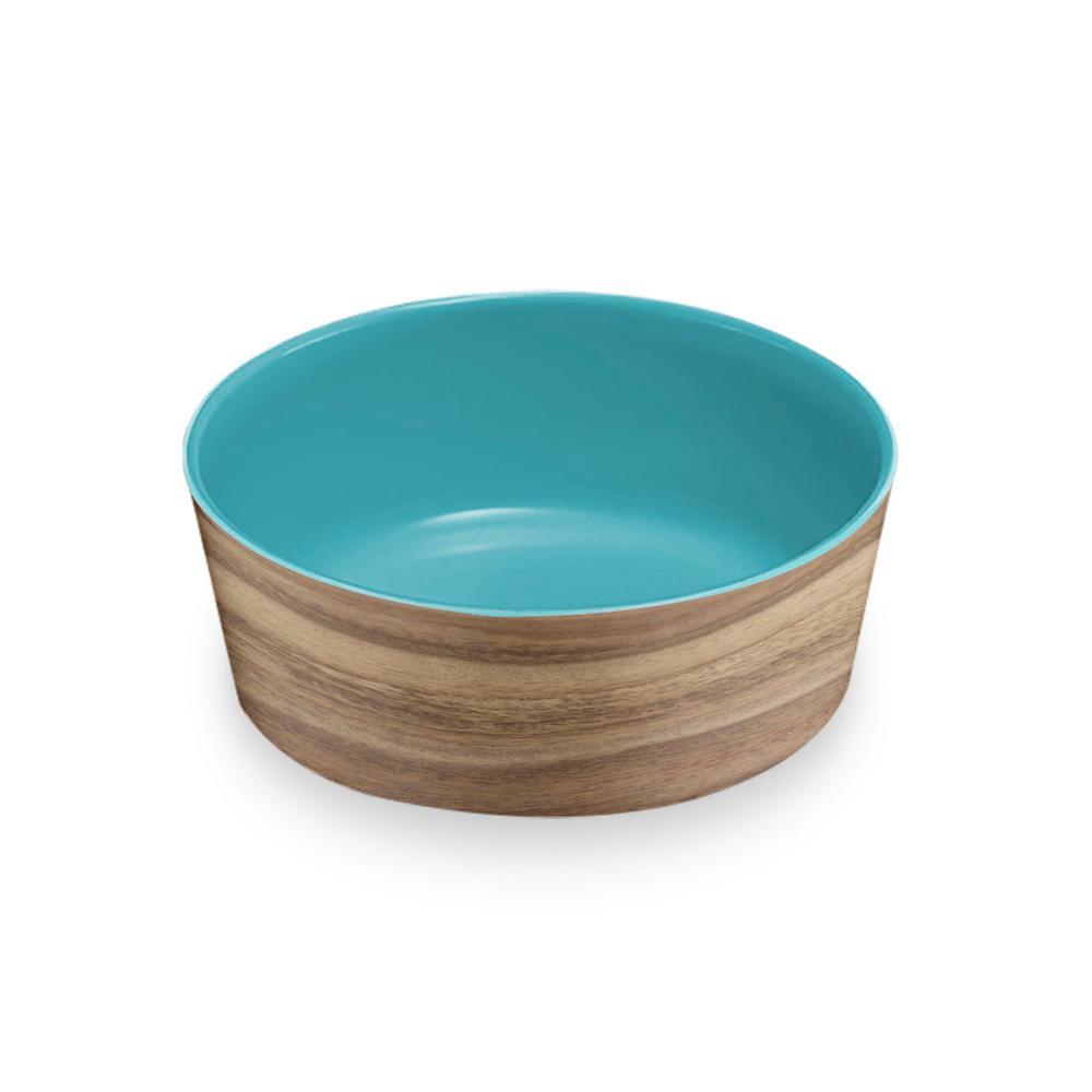 Natural Acacia and Capri Medium Pet Bowl