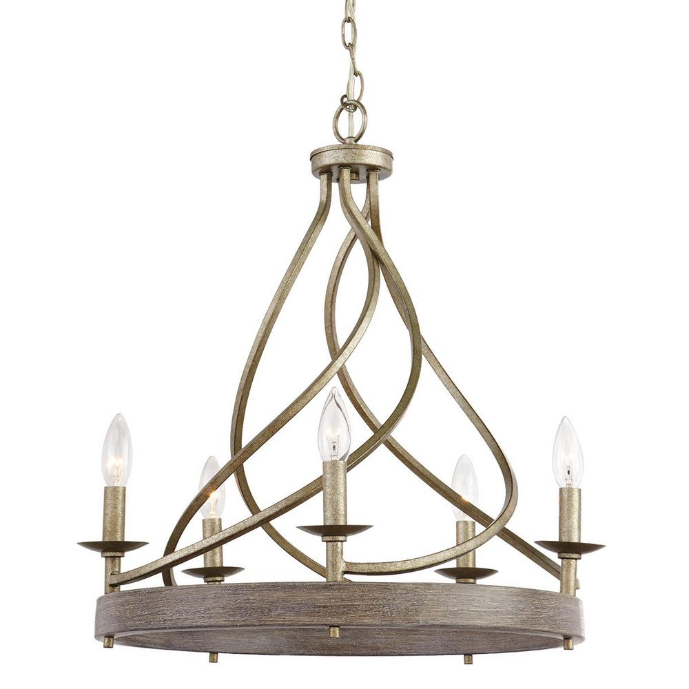 HomeDecoratorsCollection Home Decorators Collection 21.5 in. 5-Light Gilded Pewter Chandelier