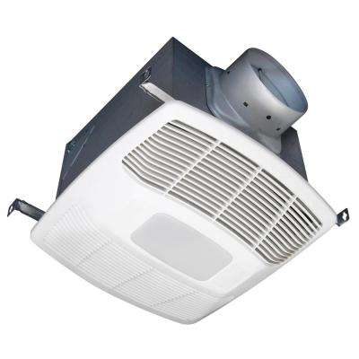 White 150 CFM Single Speed Humidity Sensing 0.6 Sone Ceiling Exhaust Bath Fan with LED Light ENERGY STAR