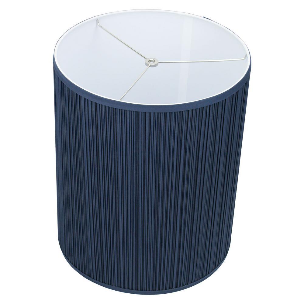 Fenchelshades Com 14 In Top Diameter X 14 In Bottom Diameter X 17 In Height Pleated Mushroom Navy Blue Drum Lamp Shade 14 14 17 W Pm Nav The Home Depot