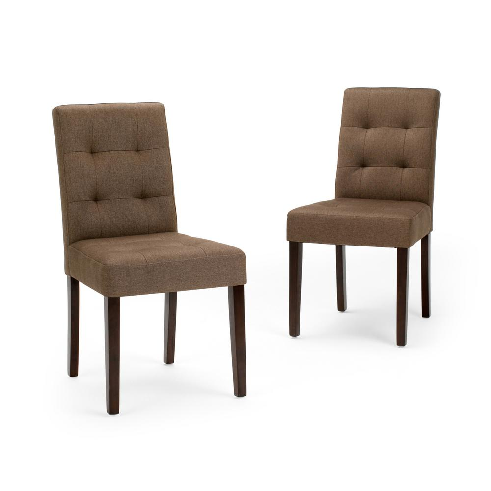 Seating Mini Gravita Armchair In Oriental Garden Fabric: Simpli Home Andover Brown Fabric Dining Chair (Set Of 2