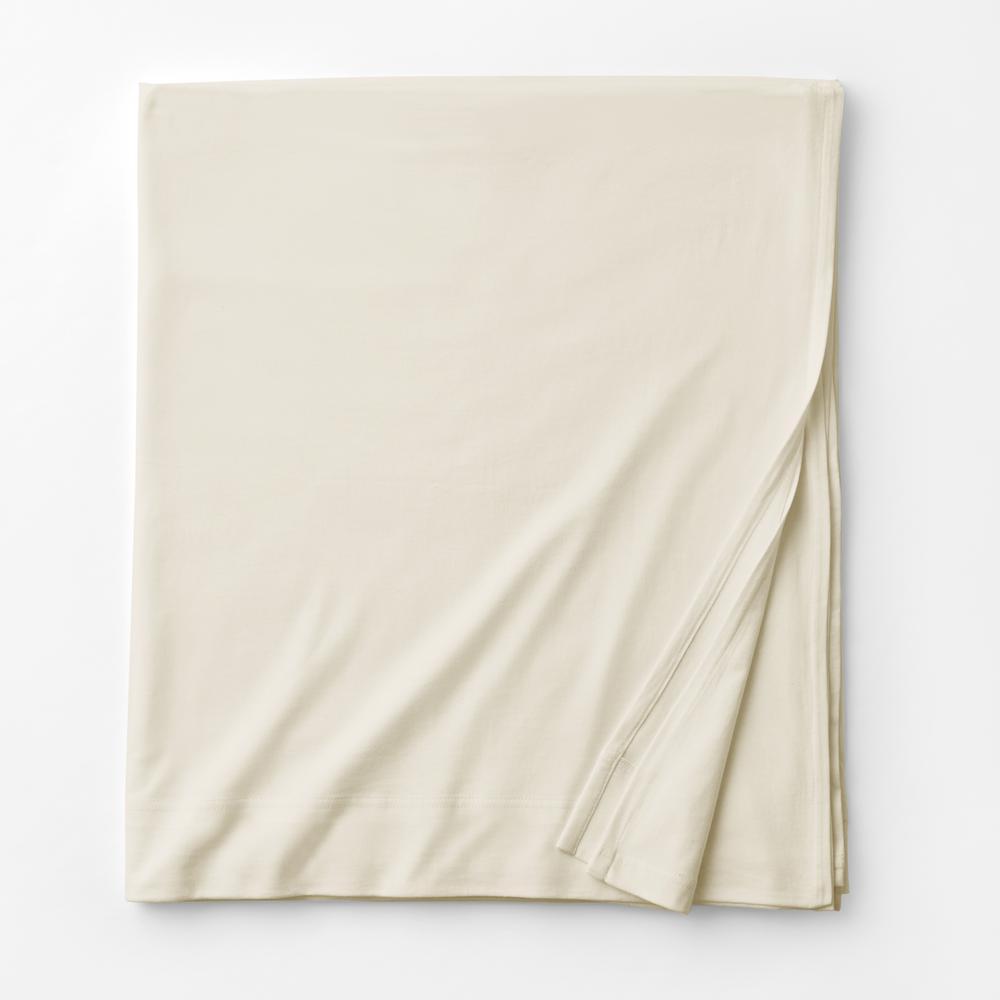 Organic Cotton Jersey Knit Natural Solid Queen Flat Sheet
