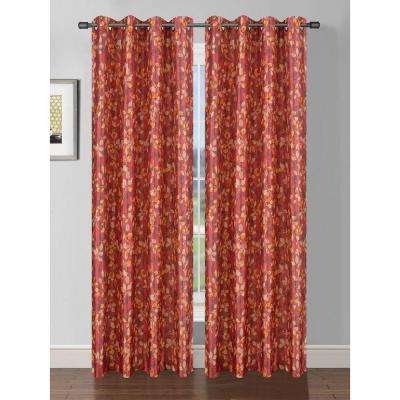 Semi-Opaque Pinehurst Printed Faux Silk Room Darkening Grommet Extra Wide Curtain Panel