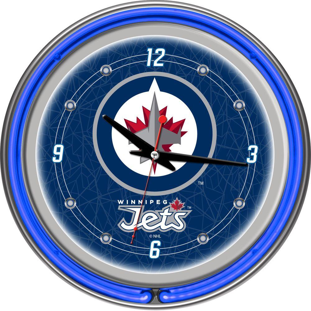 Trademark Global 14 in. Winnipeg Jets NHL Neon Wall Clock