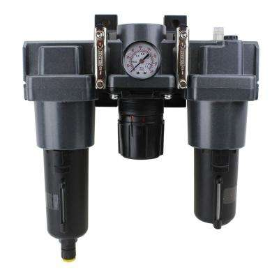 3/4 in. NPT Metal FRL Air Filter Regulator and Lubricator System