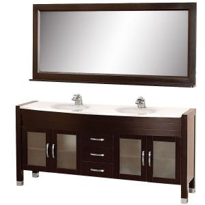 Wyndham Collection Daytona 71 inch Vanity in Espresso with Double Basin Man-Made Stone Vanity Top in White and Mirror by Wyndham Collection