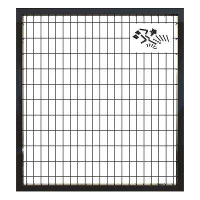 4 ft. x 4 ft. Deco Grid Black Steel Straight Fence Gate