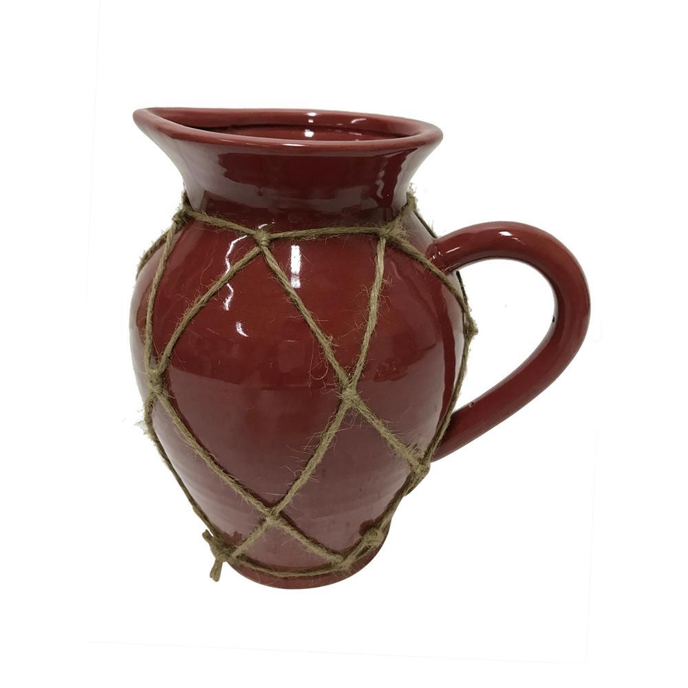 10 in. Red Ceramic Decorative Vase