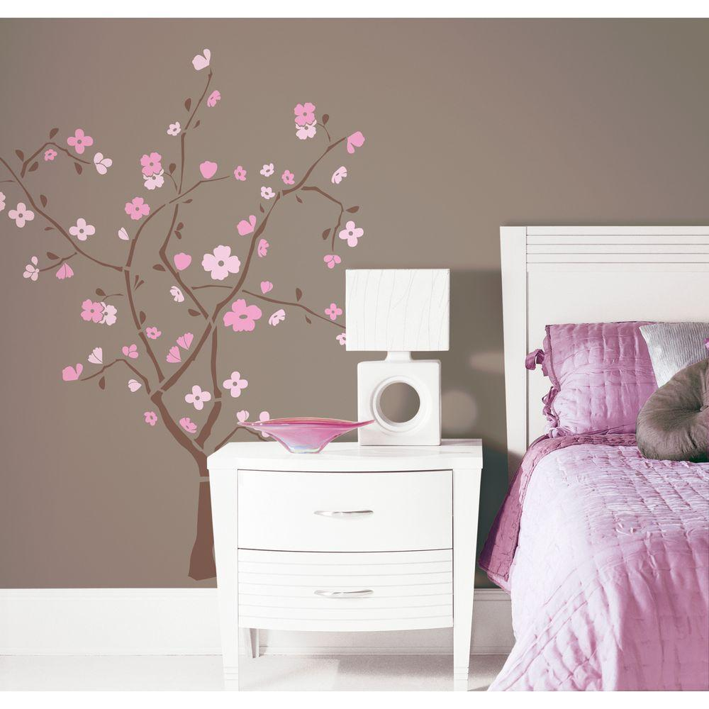 Spring Blossom 105 Piece L And Stick Giant Wall Decal Rmk1555gm The Home Depot