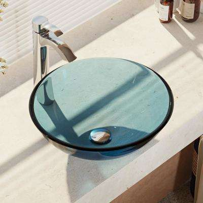 Glass Vessel Sink in Celeste with R9-7006 Faucet and Pop-Up Drain in Chrome