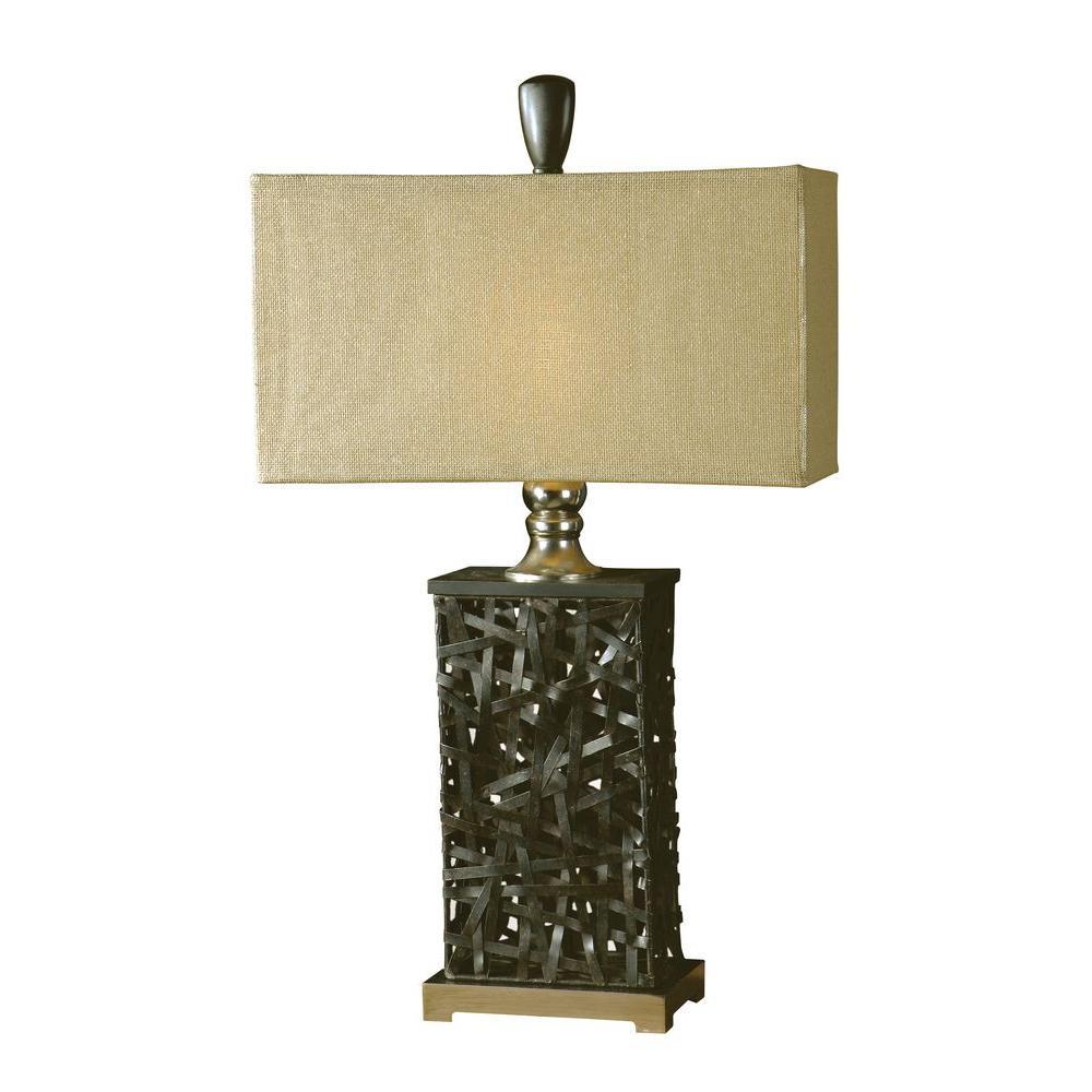 Global Direct 34 in. Rustic Black Woven Metal Table Lamp