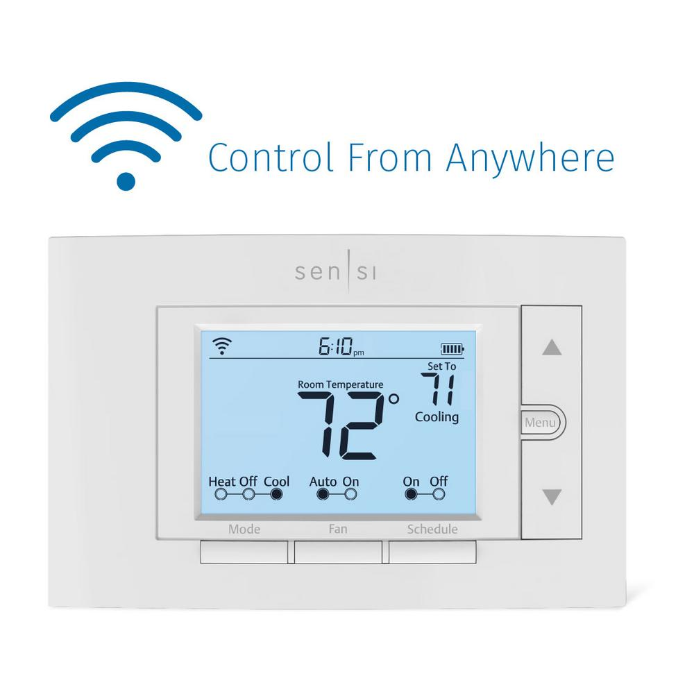 Sensi Thermostat 2 Wire | Emerson Sensi Wi Fi Thermostat For Smart Home St55 The Home Depot