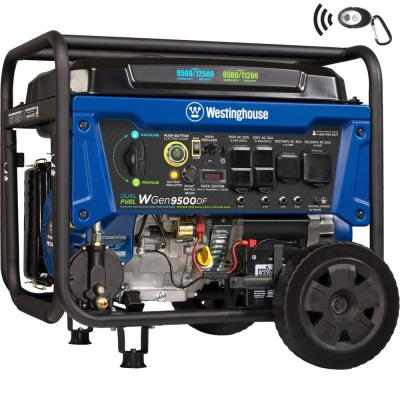 WGen9500DF 12,500/9,500-Watt Dual Fuel Portable Generator with Remote Start and Transfer Switch Outlet for Home Backup