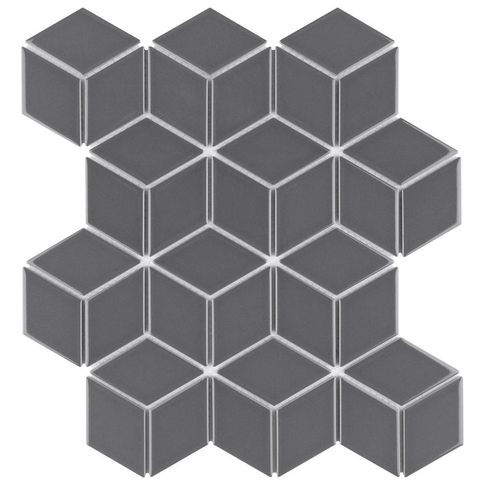 Metro Rhombus Glossy Grey 10-1/2 in. x 12-1/8 in. x 5 mm Porcelain Mosaic Tile (9.04 sq. ft. / case)