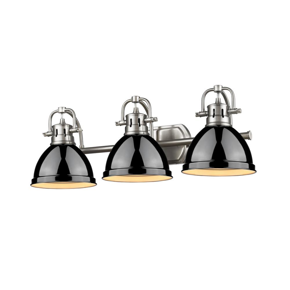 Duncan 3-Light Pewter Bath Light with Black Shade