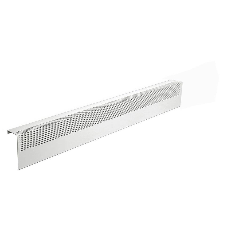 Basic Series 4 ft. Galvanized Steel Easy Slip-On Baseboard Heater Cover in White
