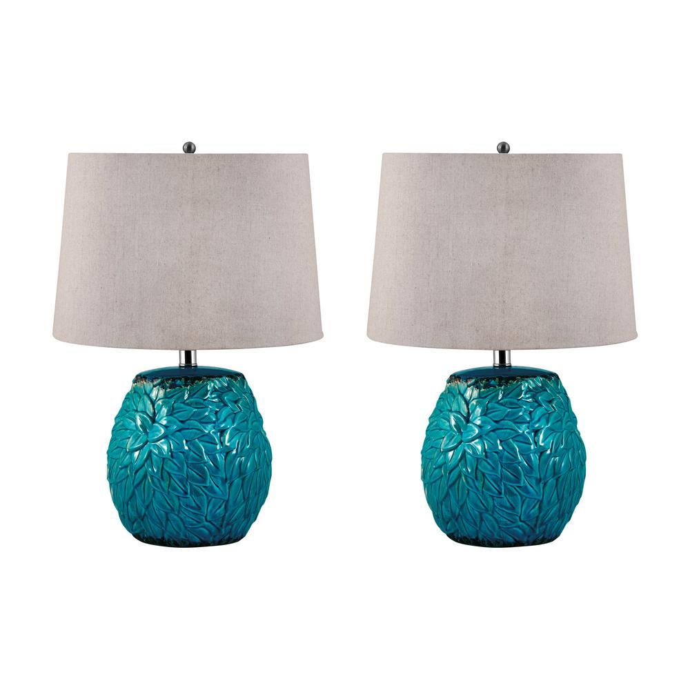Aqua Leaf Terra Cotta LED Table Lamp