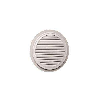32 in. x 32 in. x 1-5/8 in. Polyurethane Functional Round Louver Gable Vent with Flat Trim