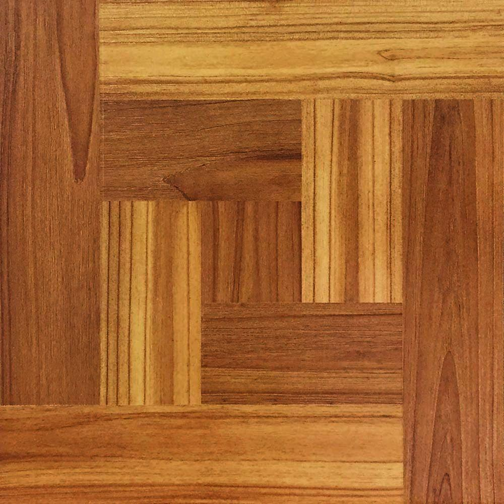 Brown Wood Parquet 12 In. X 12 In. Peel And Stick Vinyl Tile Flooring