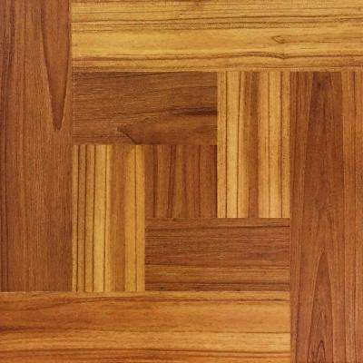 Brown Wood Parquet 12 in. x 12 in. Peel and Stick Vinyl Tile Flooring (30 sq. ft. / case)