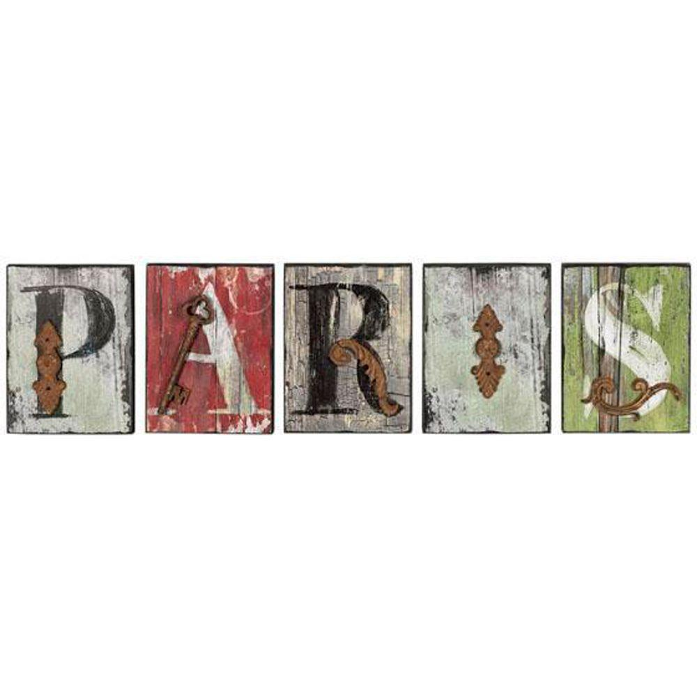 Home Decorators Collection 8 in. Multi French Market Paris Letters (Set of 5)