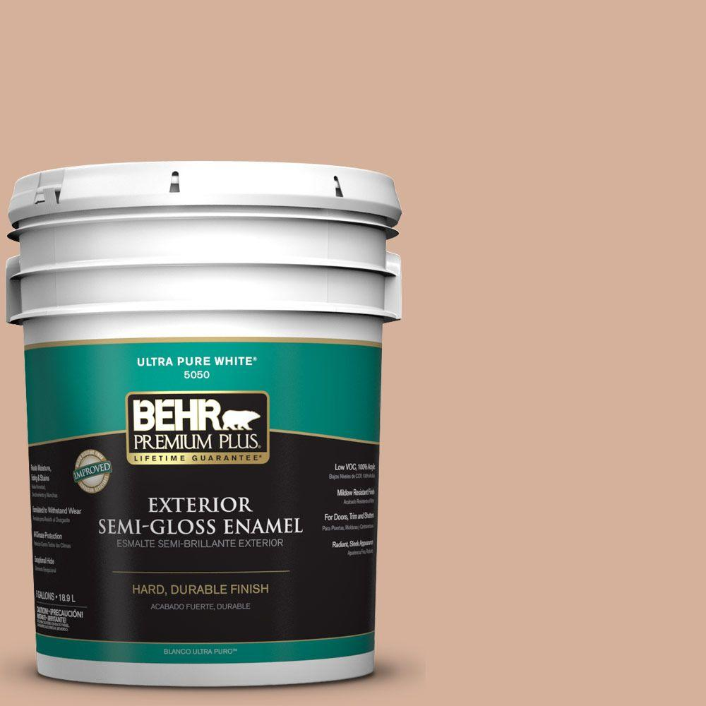 BEHR Premium Plus 5-gal. #S210-3 Sweet Tea Semi-Gloss Enamel Exterior Paint