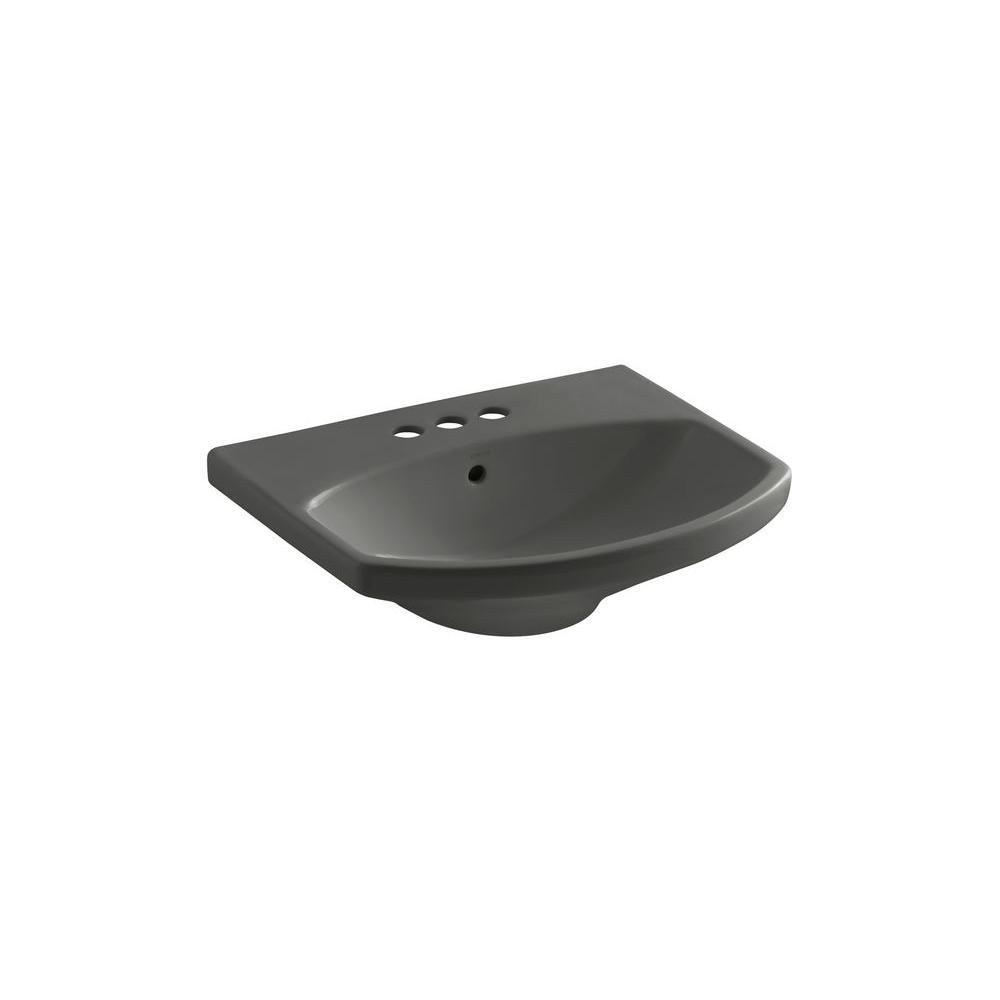 KOHLER Cimarron 3-5/8 in. Pedestal Sink Basin in Thunder Grey-DISCONTINUED