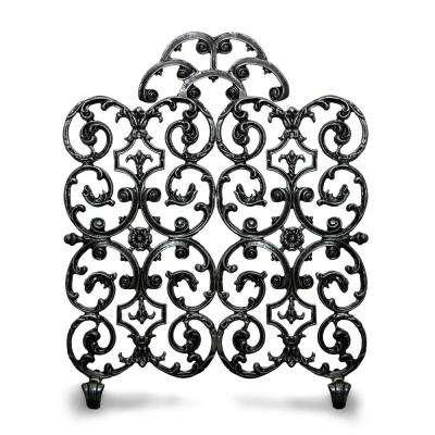 Avalon Matte Black 2-Panel 30 in. W Fireplace Screen with Arch