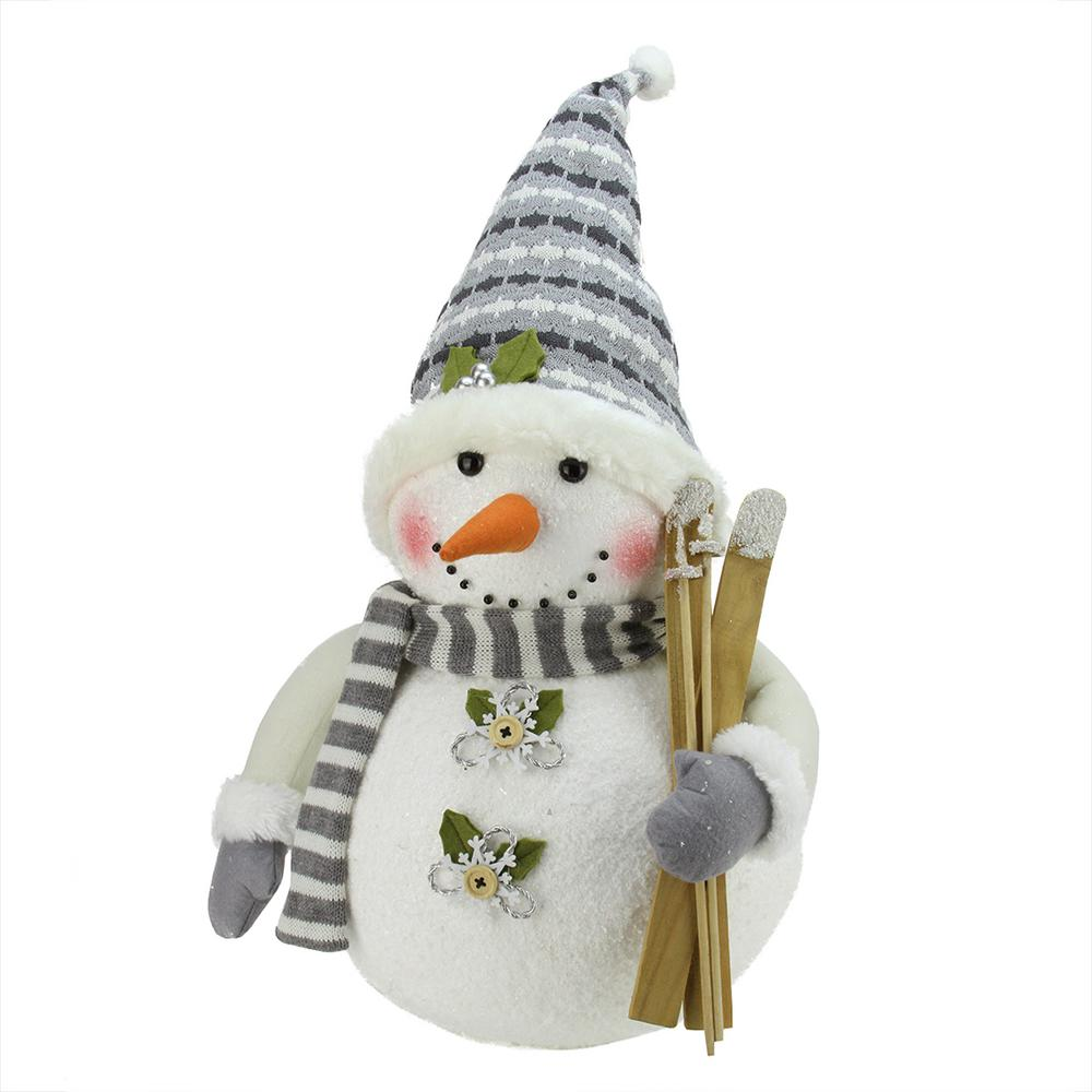 Northlight 20 In Alpine Chic Snowman With Skis And Snowflake Buttons Christmas Decoration 31730438 The Home Depot