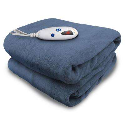 4460 Series Denim in Color 1-Size 50 in. x 62 in. Micro Plush Heated Throw