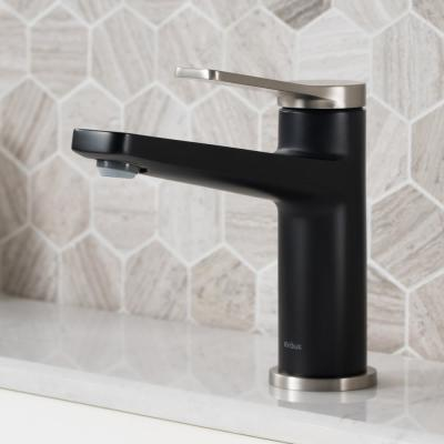Indy Single Hole Single-Handle Basin Bathroom Faucet in Spot Free Stainless Steel/Matte Black