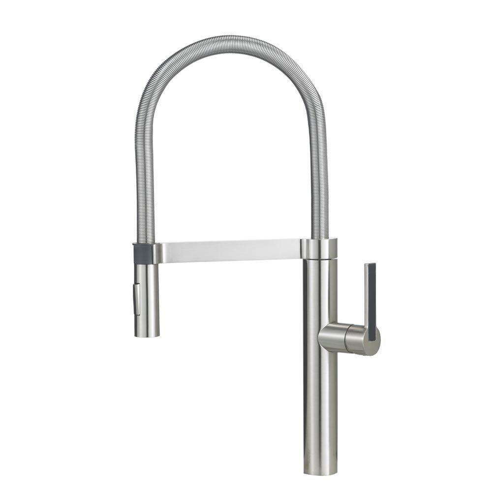 Blanco Culina Semi Pro Single Handle Pull Down Sprayer Kitchen Faucet In Satin Nickel 441332 The Home Depot