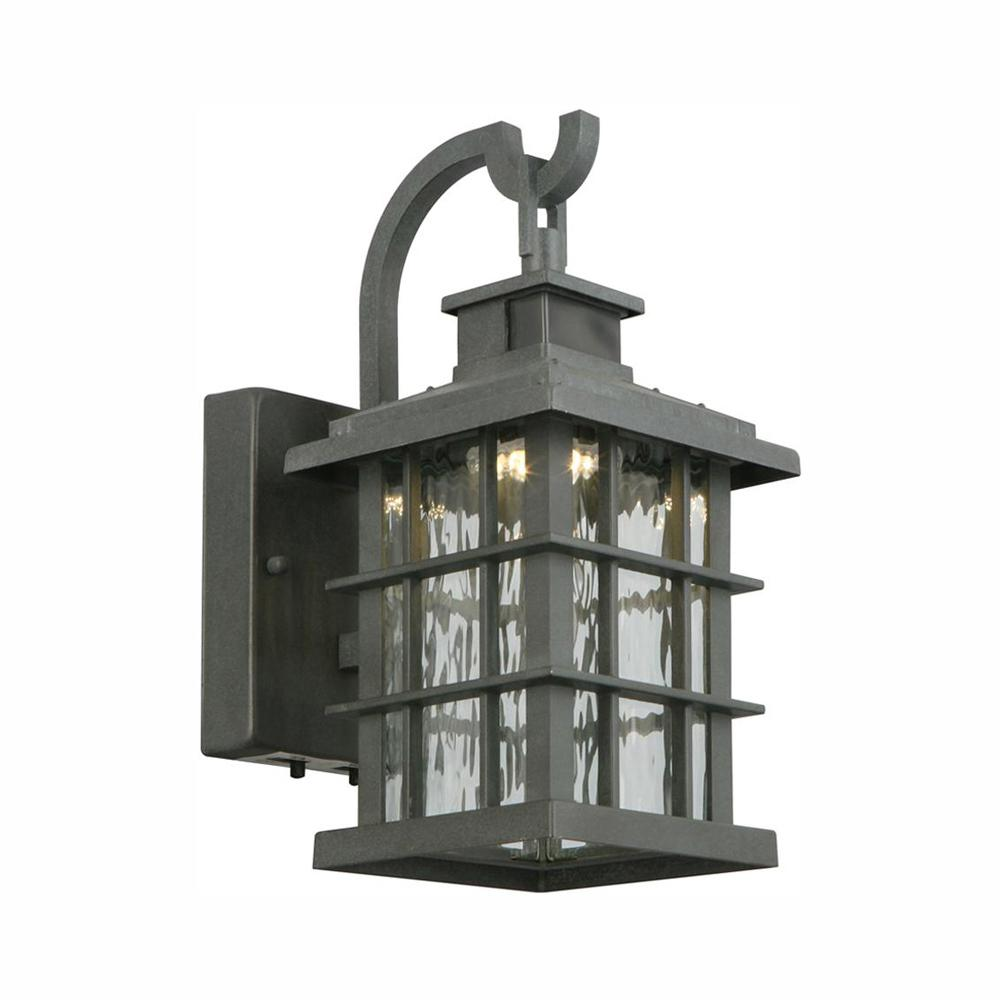 Home Decorators Collection Summit Ridge Collection Zinc Motion Sensor Outdoor Integrated LED Wall Lantern Sconce