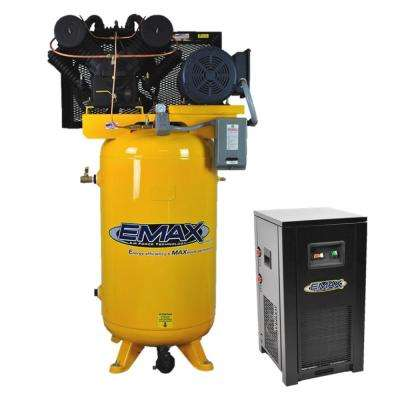 Industrial PLUS Series 80 Gal. 7.5 HP 3-Phase 2-Stage Stationary Electric Air Compressor with 30 CFM Dryer