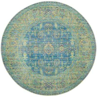 Valencia Blue/Multi 6 ft. 7 in. x 6 ft. 7 in. Round Area Rug