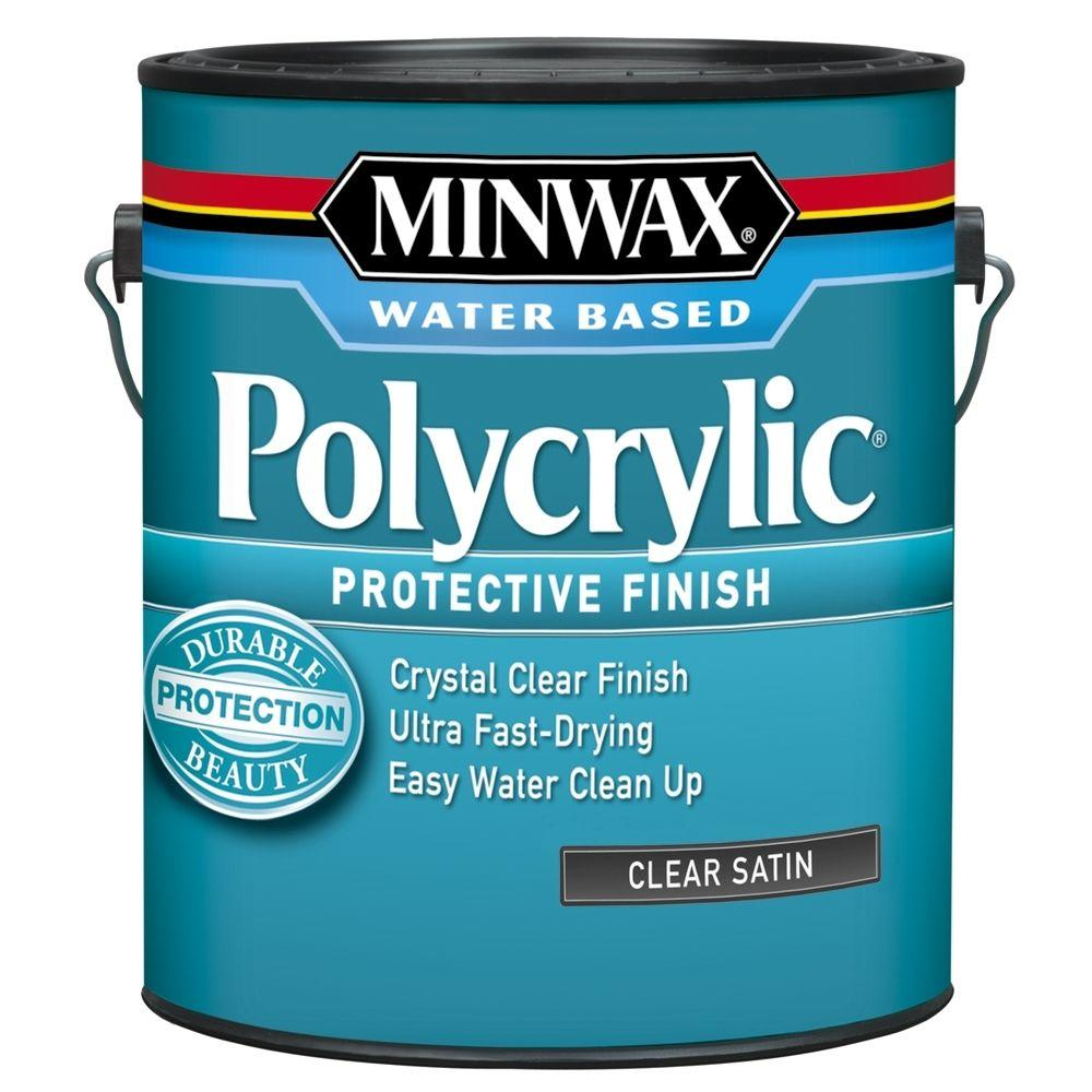 Minwax 1 gal. Clear Satin Polycrylic Protective Finish fo...