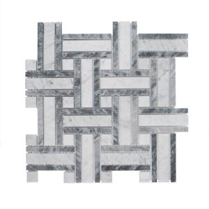 Benedict White 12 in. x 12 in. Basket Weave Mixed Marble Wall and Floor Mosaic Tile (1 sq. ft./Each)