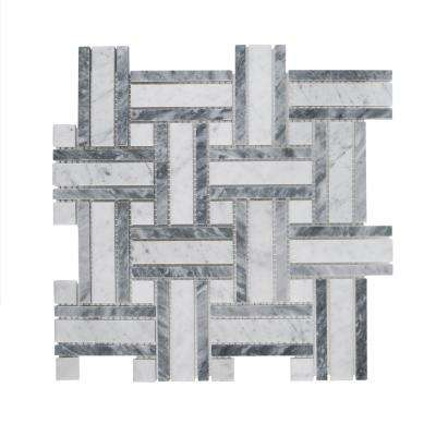 Benedict White 12 in. x 12 in. x 8 mm Basket Weave Marble Wall and Floor Mosaic Tile