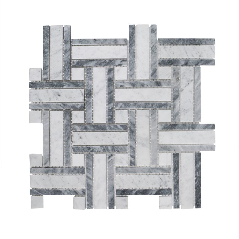 Jeff Lewis Benedict 12 in. x 12 in. x 8 mm Stone Mosaic Tile