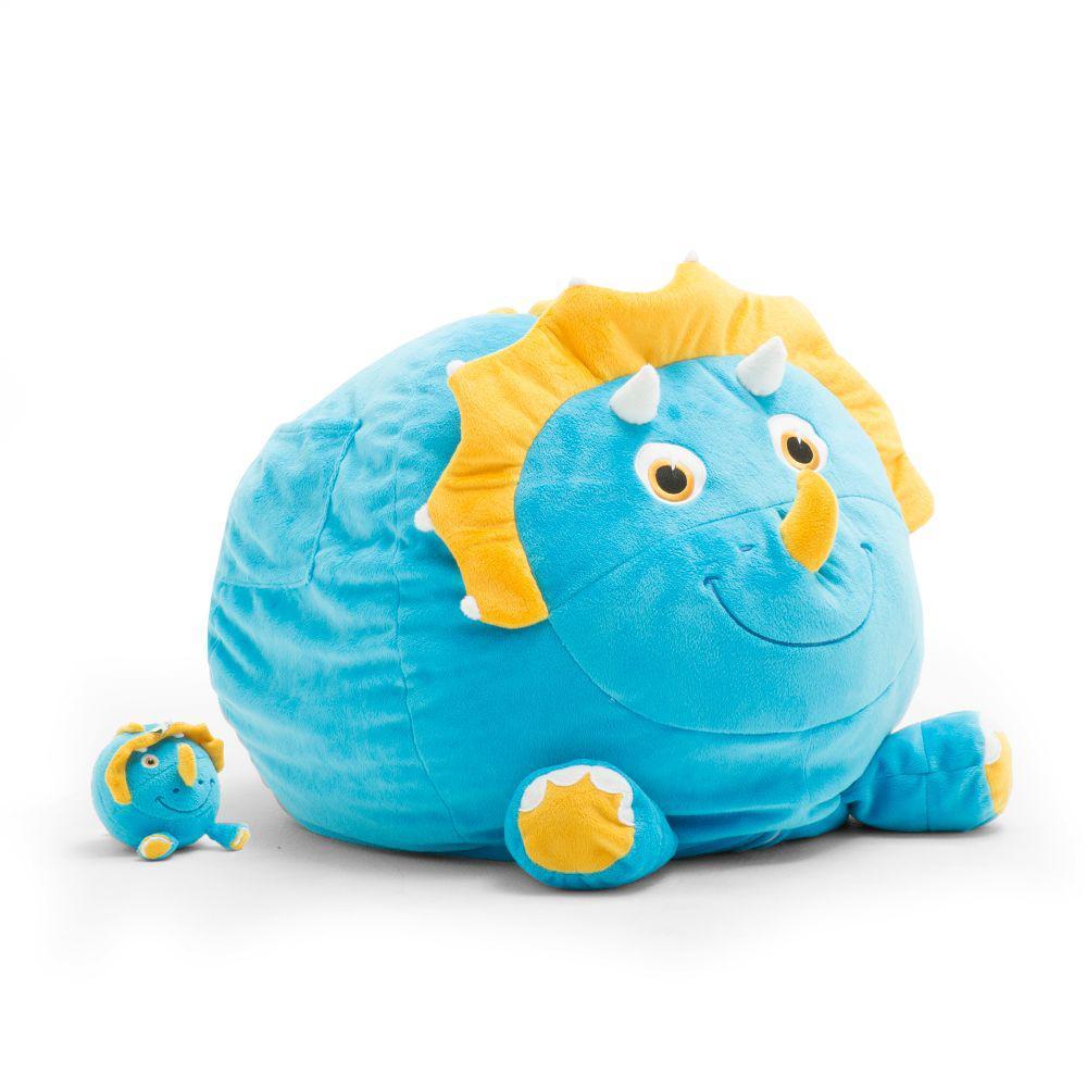 Sarah the Triceratops Cozy Blue Plush Bean Bag