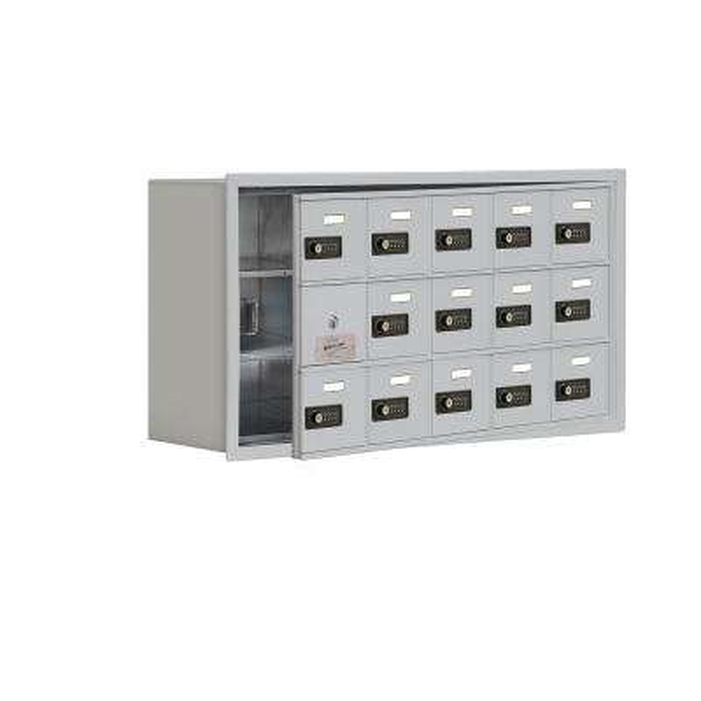 19100 Series 35.75 in. W x 18.75 in. H x 8.75 in. D 14 Doors Cell Phone Locker Recess Mount Resettable Lock in Aluminum