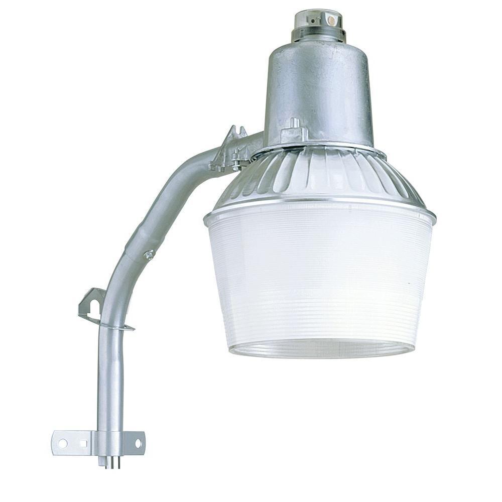 Wall or Post Mount 1-Light Outdoor Metallic Grey Metal Halide Area Security Light