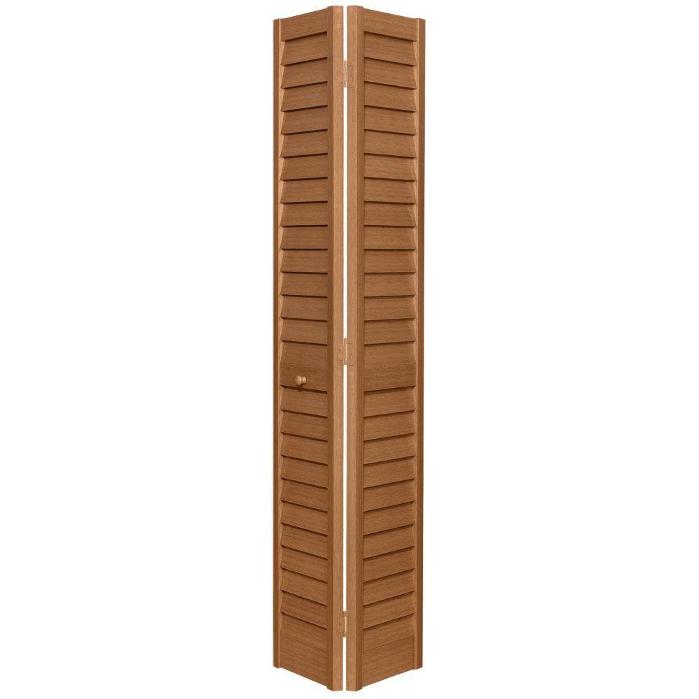 24 in. x 80 in. 3 in. Louver/Louver Golden Oak PVC Composite Interior Bi-fold Door