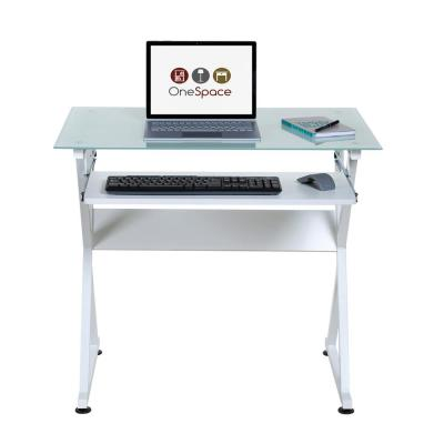 38 in. Rectangular White Computer Desk with Keyboard Tray