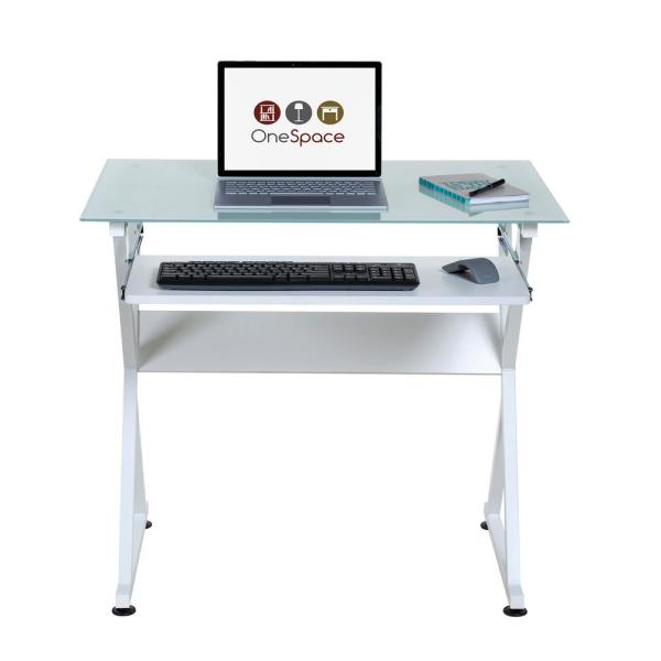 Onee White Ultramodern Gl Computer Desk With Pull Out Keyboard Tray