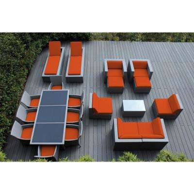 Gray 20-Piece Wicker Patio Combo Conversation Set with Spuncrylic Orange Cushions