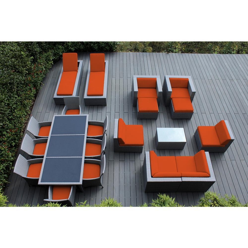 Gray 20-Piece Wicker Patio Combo Conversation Set with Supercrylic Orange Cushions