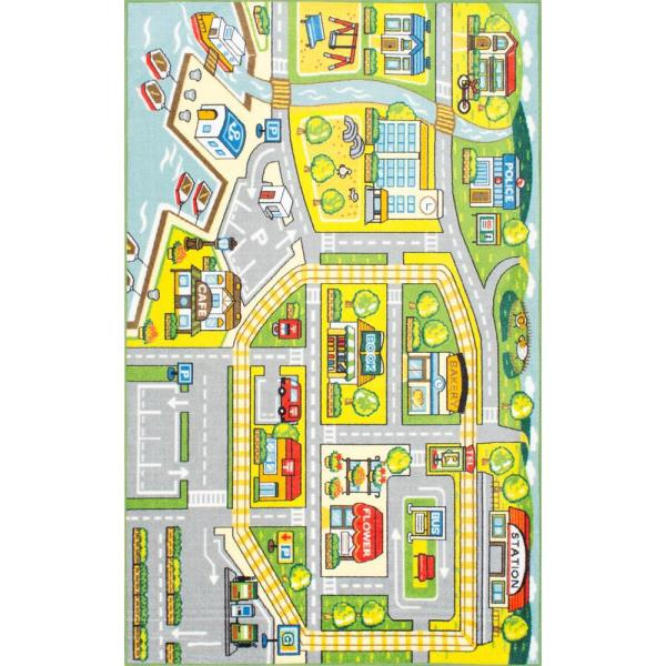 Fairytale Town Playmat Green 5 ft. x 8 ft.  Area Rug