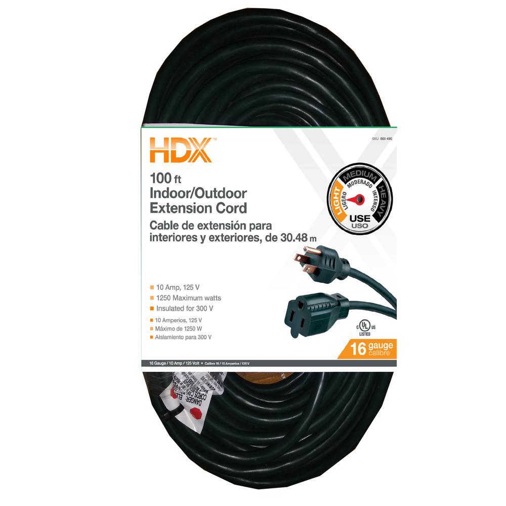 HDX 100 ft. 16/3 Indoor/Outdoor Extension Cord, Green