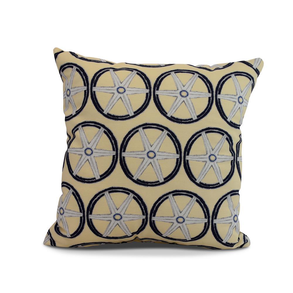 Nautical Geo Lines 16 in. Yellow Decorative Nautical Throw Pillow